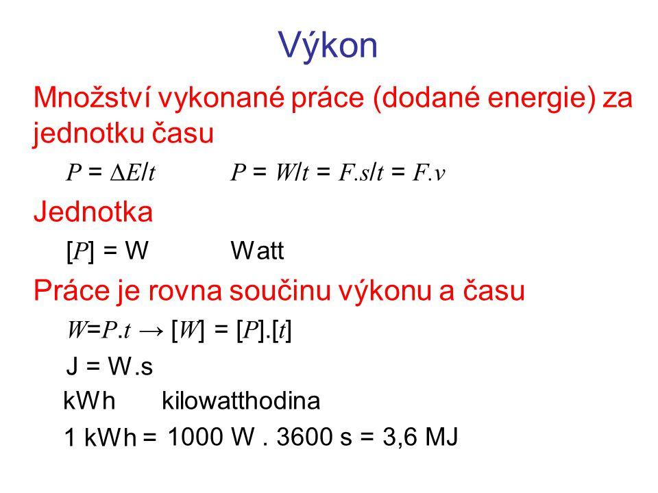 Výkon Množství vykonané práce (dodané energie) za jednotku času P =  E / tP = W / t = F.s / t = F.v Jednotka [ P ] = WWatt Práce je rovna součinu výk