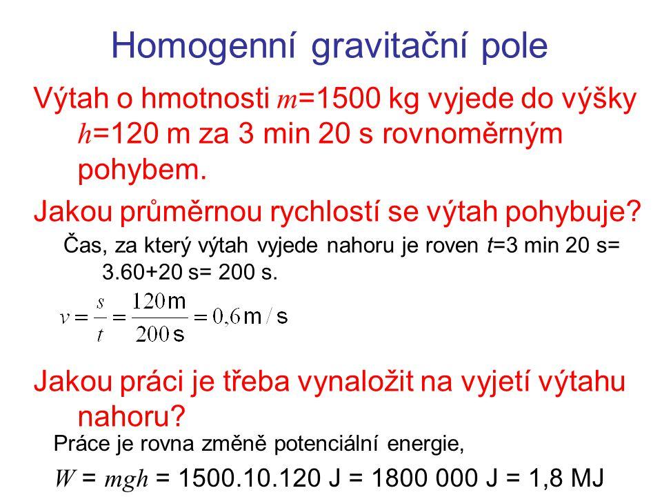 Homogenní gravitační pole Výtah o hmotnosti m =1500 kg vyjede do výšky h =120 m za 3 min 20 s rovnoměrným pohybem. Jakou průměrnou rychlostí se výtah