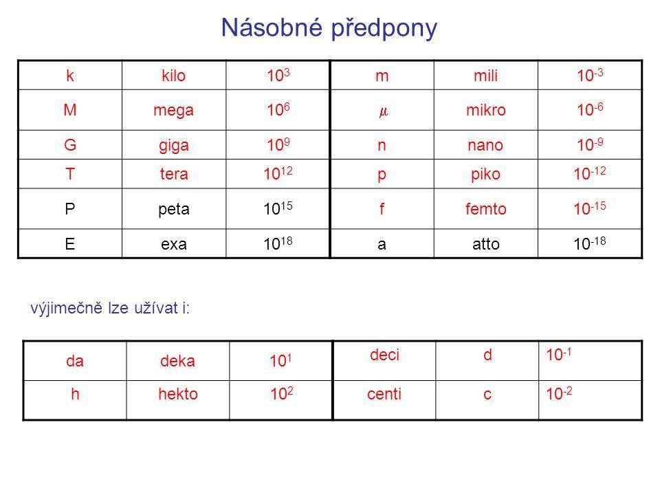 Násobné předpony kkilo10 3 mmili10 -3 Mmega10 6  mikro10 -6 Ggiga10 9 nnano10 -9 Ttera10 12 ppiko10 -12 Ppeta10 15 ffemto10 -15 Eexa10 18 aatto10 -1