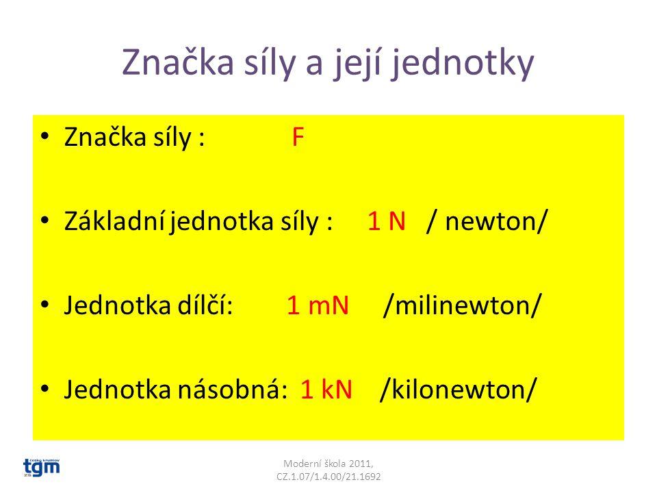 Značka síly a její jednotky Značka síly : F Základní jednotka síly : 1 N / newton/ Jednotka dílčí: 1 mN /milinewton/ Jednotka násobná: 1 kN /kilonewto