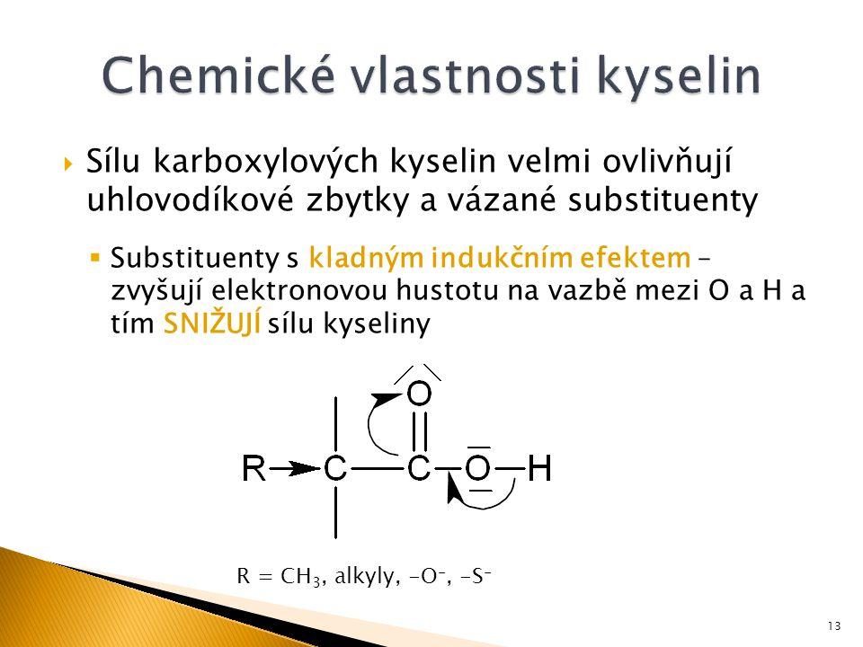  Sílu karboxylových kyselin velmi ovlivňují uhlovodíkové zbytky a vázané substituenty  Substituenty s kladným indukčním efektem – zvyšují elektronovou hustotu na vazbě mezi O a H a tím SNIŽUJÍ sílu kyseliny R = CH 3, alkyly, -O -, -S - 13