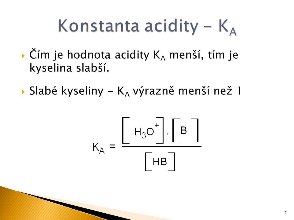  Čím je hodnota acidity K A menší, tím je kyselina slabší.