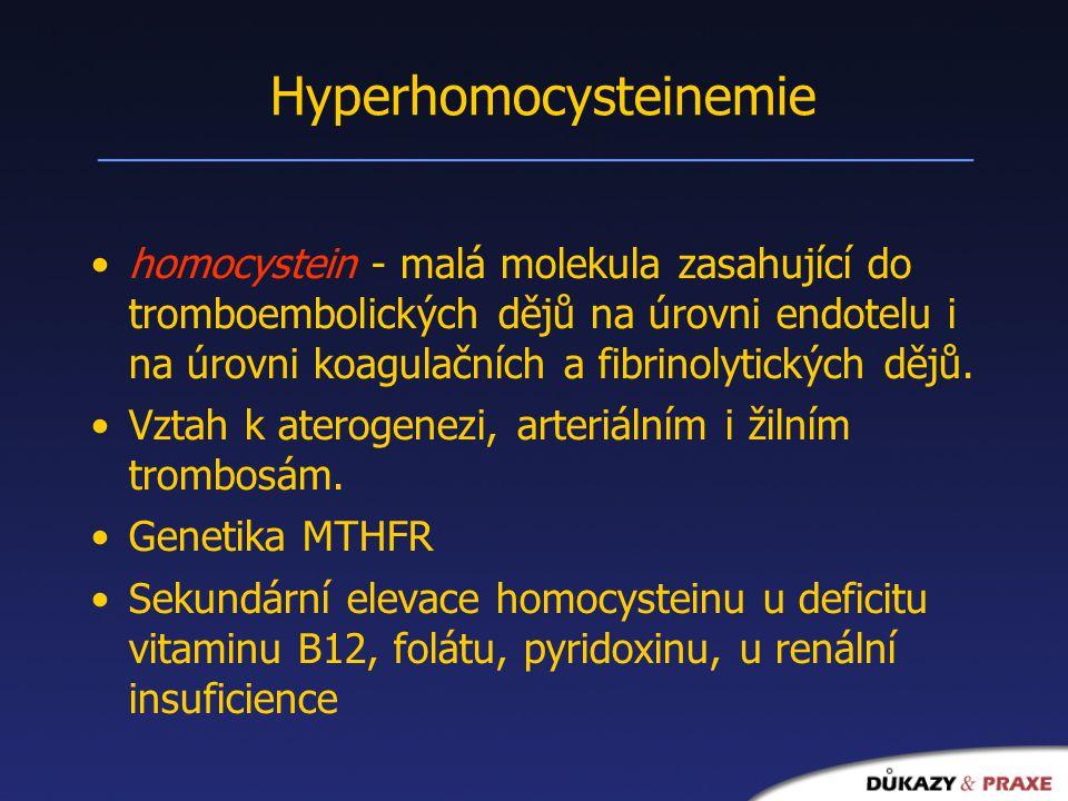 Hyperhomocysteinemie homocystein - malá molekula zasahující do tromboembolických dějů na úrovni endotelu i na úrovni koagulačních a fibrinolytických dějů.