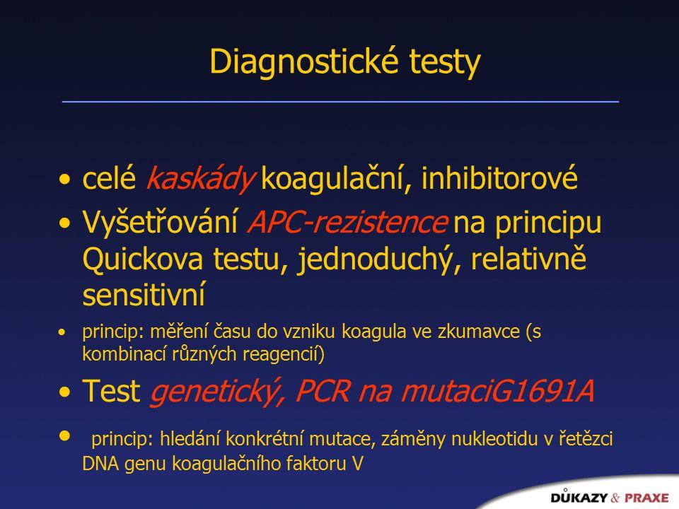 Diagnostické testy celé kaskády koagulační, inhibitorové Vyšetřování APC-rezistence na principu Quickova testu, jednoduchý, relativně sensitivní princip: měření času do vzniku koagula ve zkumavce (s kombinací různých reagencií) Test genetický, PCR na mutaciG1691A princip: hledání konkrétní mutace, záměny nukleotidu v řetězci DNA genu koagulačního faktoru V