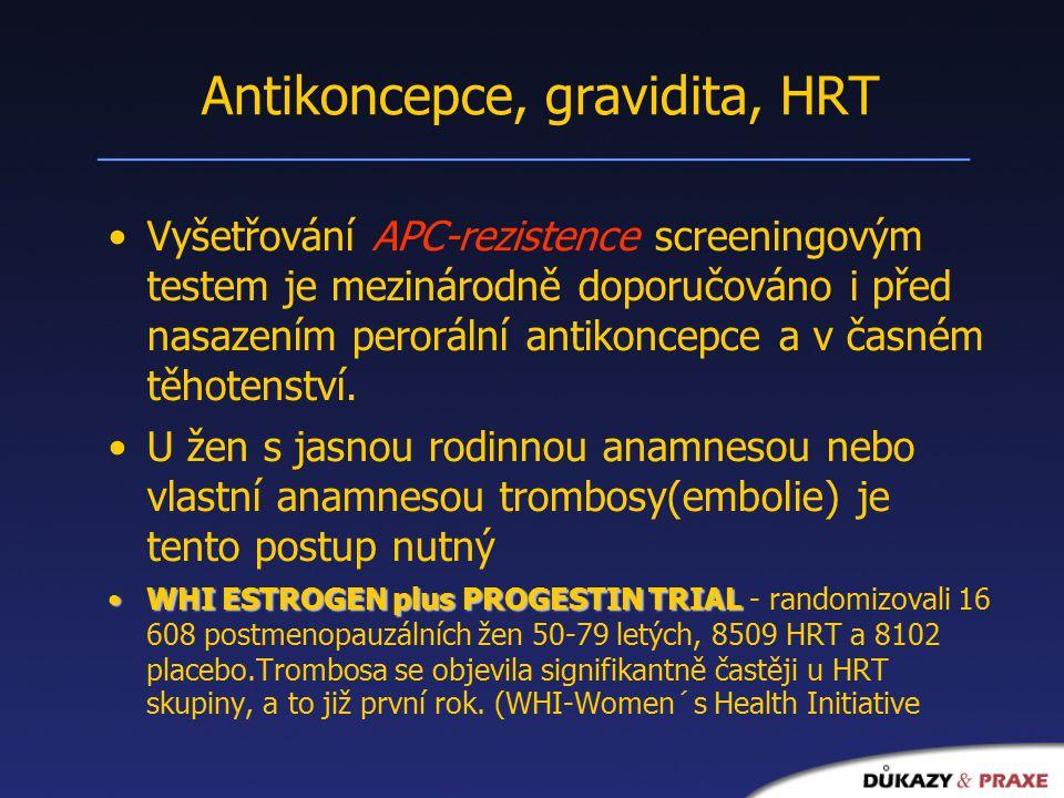 Antikoncepce, gravidita, HRT Vyšetřování APC-rezistence screeningovým testem je mezinárodně doporučováno i před nasazením perorální antikoncepce a v časném těhotenství.
