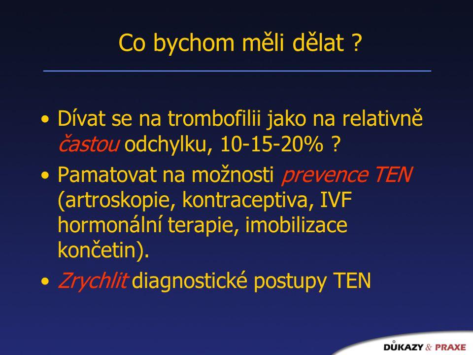 Co bychom měli dělat .Dívat se na trombofilii jako na relativně častou odchylku, 10-15-20% .
