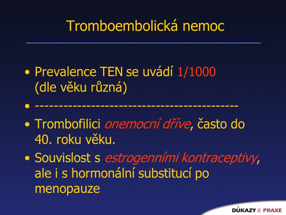 Tromboembolická nemoc Prevalence TEN se uvádí 1/1000 (dle věku různá) -------------------------------------------- Trombofilici onemocní dříve, často do 40.