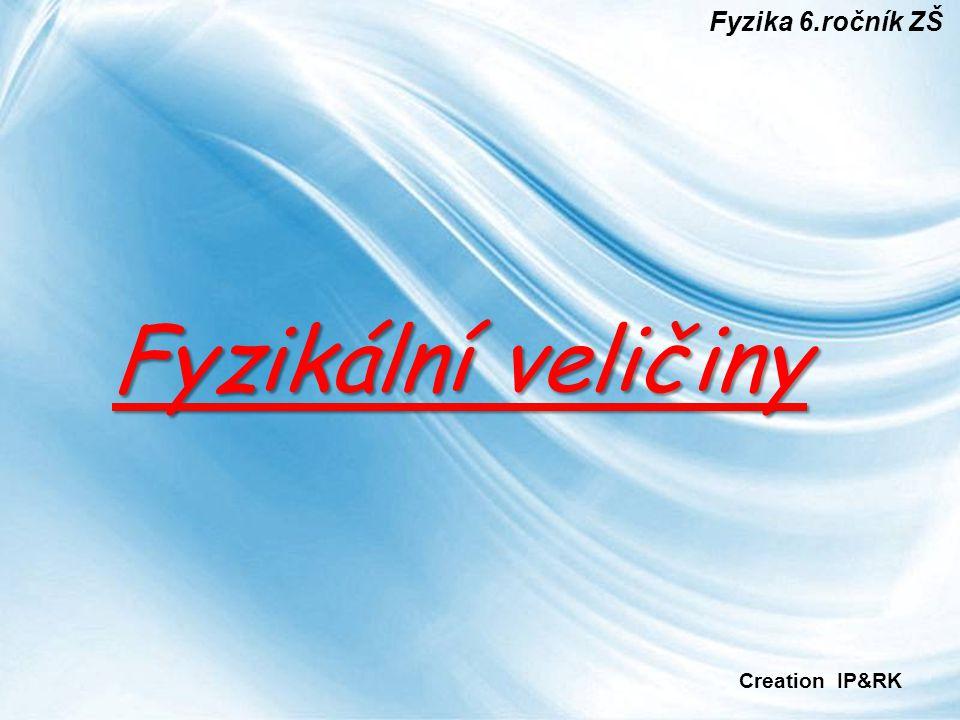 Page 1 Fyzikální veličiny Fyzika 6.ročník ZŠ Creation IP&RK