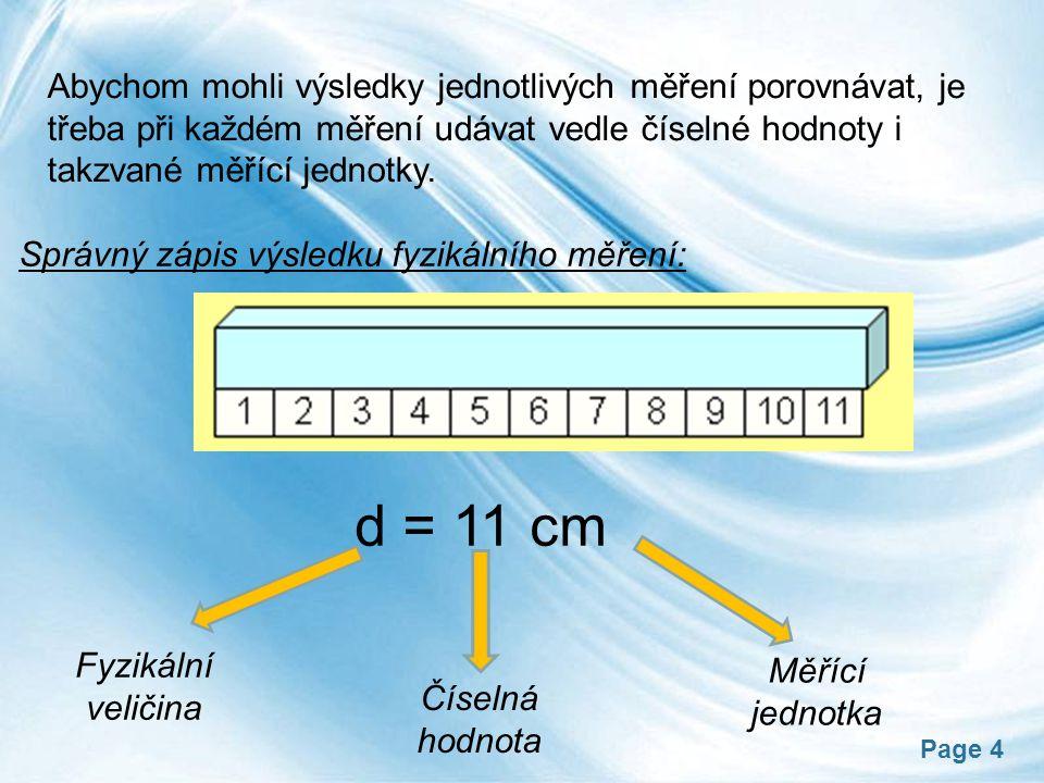 Page 4 Abychom mohli výsledky jednotlivých měření porovnávat, je třeba při každém měření udávat vedle číselné hodnoty i takzvané měřící jednotky. Sprá