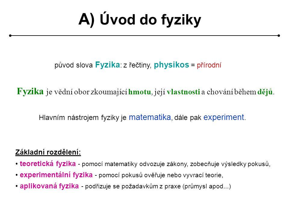 A) Úvod do fyziky původ slova Fyzika : z řečtiny, physikos = přírodní Fyzika je vědní obor zkoumající hmotu, její vlastnosti a chování během dějů.