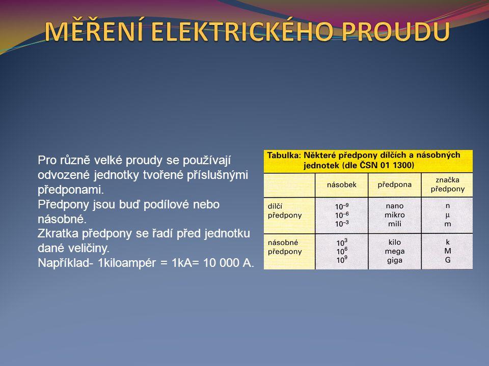 Pro různě velké proudy se používají odvozené jednotky tvořené příslušnými předponami.