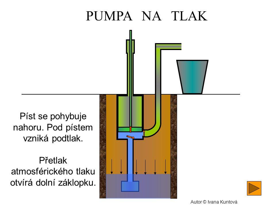 Podtlak. Ze studny se pod píst nasává voda. Autor © Ivana Kuntová