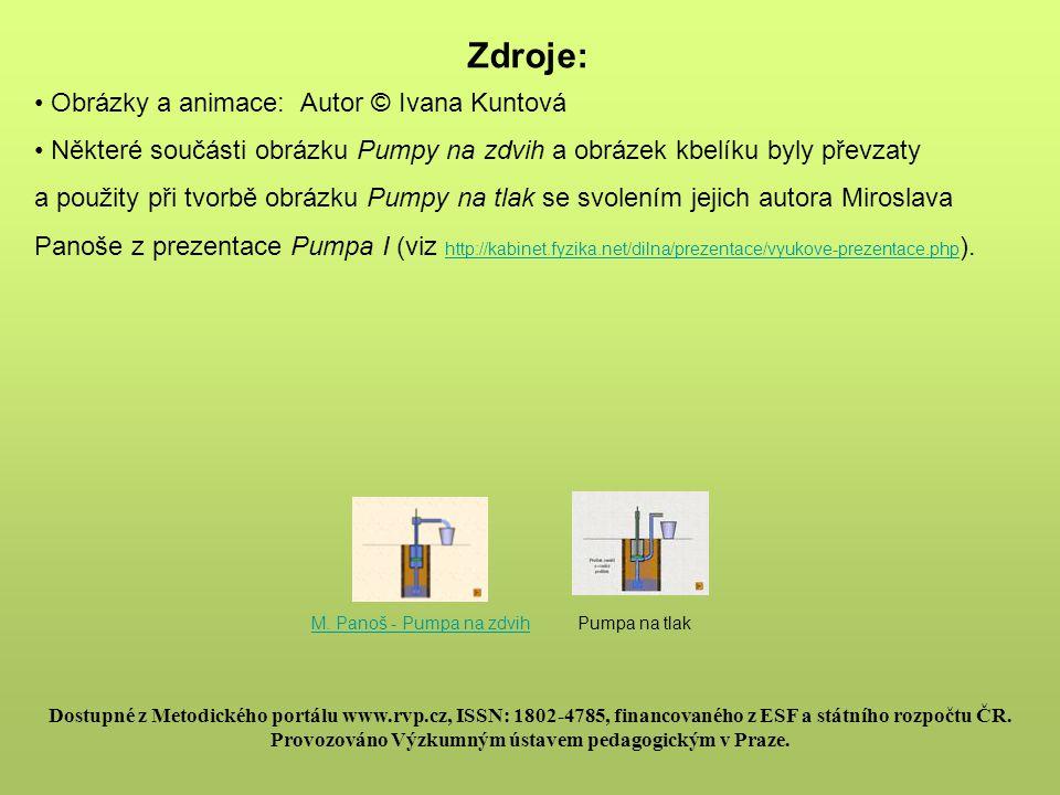 Zdroje: Obrázky a animace: Autor © Ivana Kuntová Některé součásti obrázku Pumpy na zdvih a obrázek kbelíku byly převzaty a použity při tvorbě obrázku
