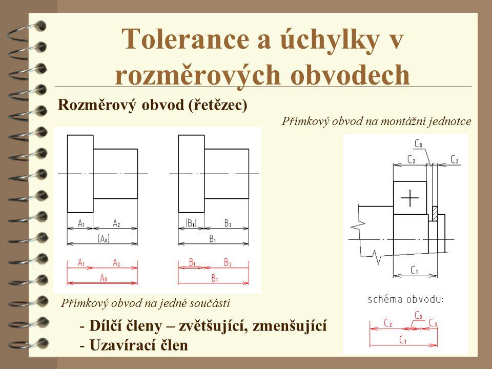 Tolerance a úchylky v rozměrových obvodech Rozměrový obvod (řetězec) Přímkový obvod na jedné součásti Přímkový obvod na montážní jednotce - Dílčí člen