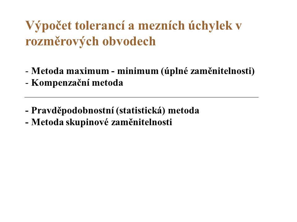 Výpočet tolerancí a mezních úchylek v rozměrových obvodech - Metoda maximum - minimum (úplné zaměnitelnosti) - Kompenzační metoda - Pravděpodobnostní
