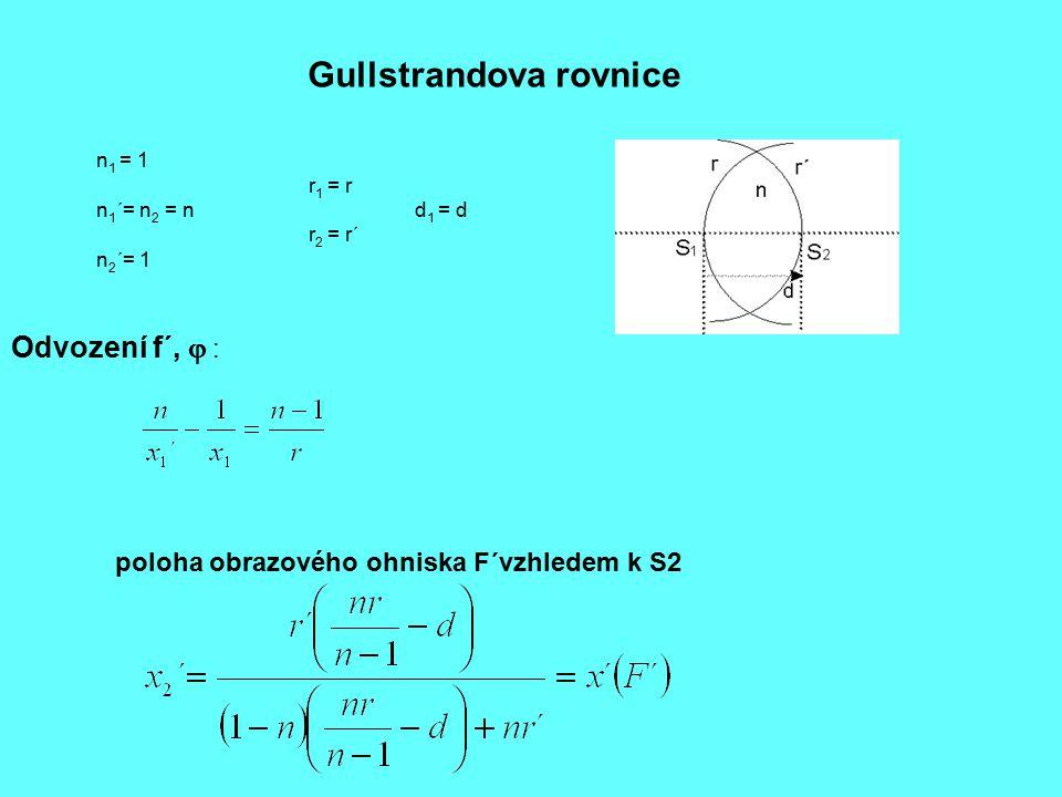 Gullstrandova rovnice n 1 = 1 r 1 = r n 1 ´= n 2 = nd 1 = d r 2 = r´ n 2 ´= 1 Odvození f´,  : poloha obrazového ohniska F´vzhledem k S2