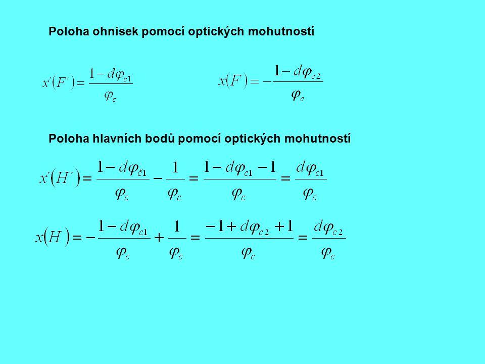 Poloha ohnisek pomocí optických mohutností Poloha hlavních bodů pomocí optických mohutností