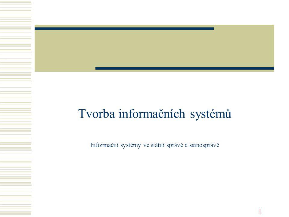 1 Tvorba informačních systémů Informační systémy ve státní správě a samosprávě