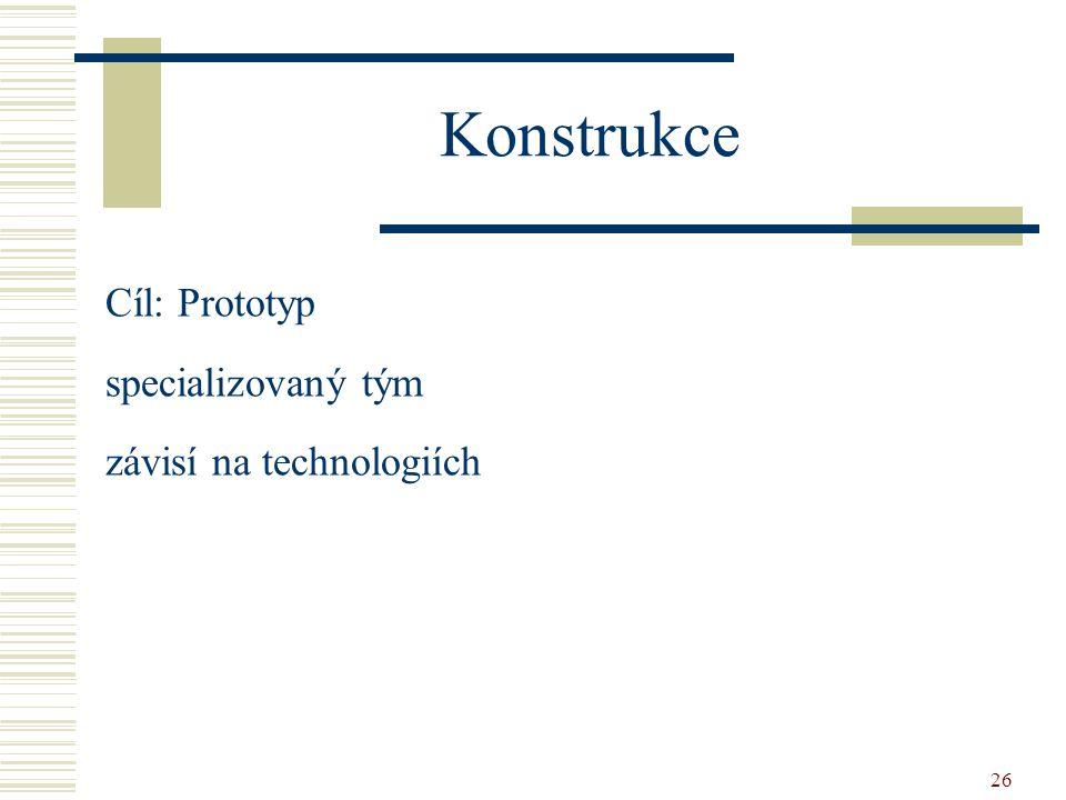 26 Konstrukce Cíl: Prototyp specializovaný tým závisí na technologiích
