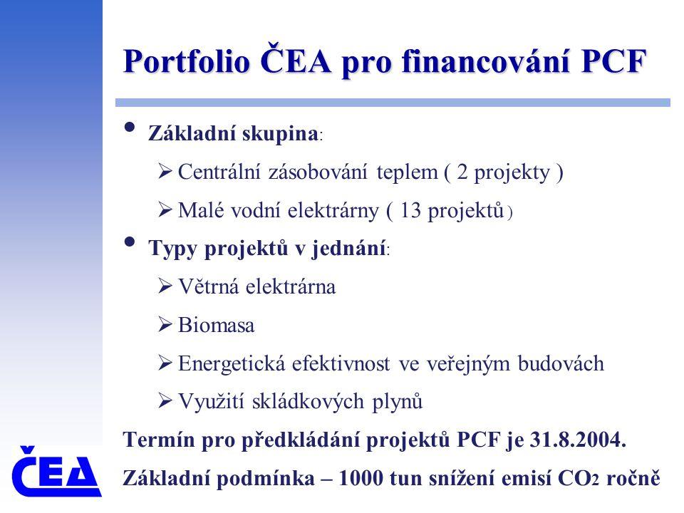 Portfolio ČEA pro financování PCF Základní skupina :  Centrální zásobování teplem ( 2 projekty )  Malé vodní elektrárny ( 13 projektů ) Typy projektů v jednání :  Větrná elektrárna  Biomasa  Energetická efektivnost ve veřejným budovách  Využití skládkových plynů Termín pro předkládání projektů PCF je 31.8.2004.