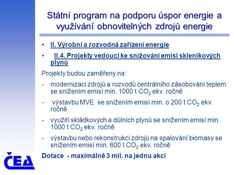 Státní program na podporu úspor energie a využívání obnovitelných zdrojů energie II. Výrobní a rozvodná zařízení energie II.4. Projekty vedoucí ke sni