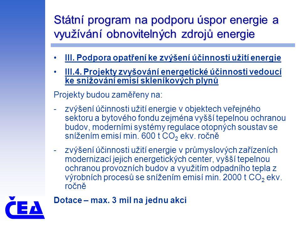 Státní program na podporu úspor energie a využívání obnovitelných zdrojů energie III. Podpora opatření ke zvýšení účinnosti užití energie III.4. Proje