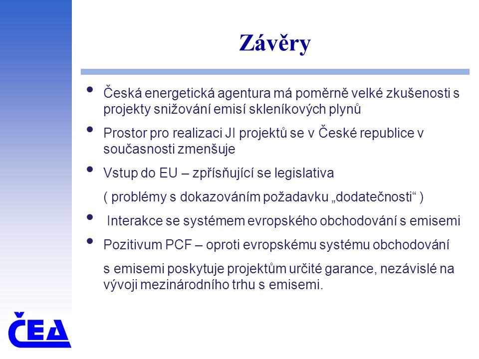 """Závěry Česká energetická agentura má poměrně velké zkušenosti s projekty snižování emisí skleníkových plynů Prostor pro realizaci JI projektů se v České republice v současnosti zmenšuje Vstup do EU – zpřísňující se legislativa ( problémy s dokazováním požadavku """"dodatečnosti ) Interakce se systémem evropského obchodování s emisemi Pozitivum PCF – oproti evropskému systému obchodování s emisemi poskytuje projektům určité garance, nezávislé na vývoji mezinárodního trhu s emisemi."""