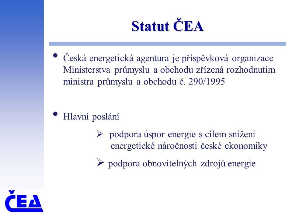 Statut ČEA Česká energetická agentura je příspěvková organizace Ministerstva průmyslu a obchodu zřízená rozhodnutím ministra průmyslu a obchodu č.