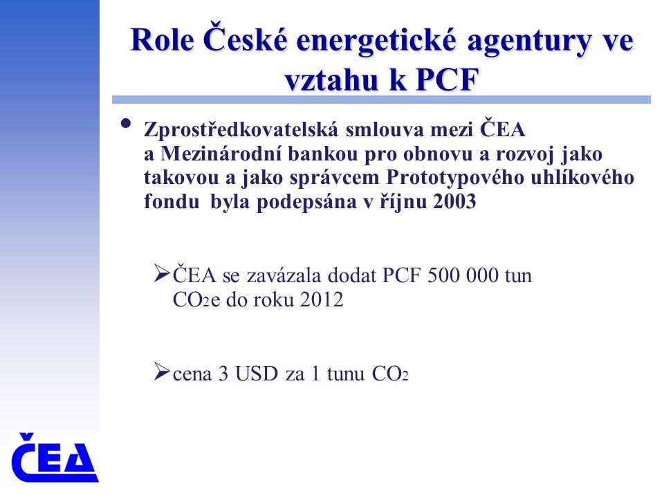 Role České energetické agentury ve vztahu k PCF Zprostředkovatelská smlouva mezi ČEA a Mezinárodní bankou pro obnovu a rozvoj jako takovou a jako sprá