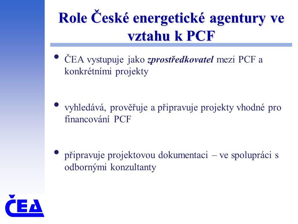 Role České energetické agentury ve vztahu k PCF ČEA vystupuje jako zprostředkovatel mezi PCF a konkrétními projekty vyhledává, prověřuje a připravuje projekty vhodné pro financování PCF připravuje projektovou dokumentaci – ve spolupráci s odbornými konzultanty