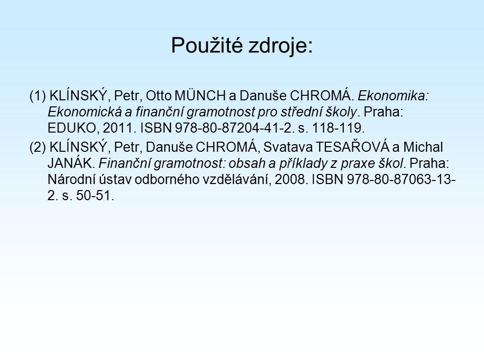 Použité zdroje: (1) KLÍNSKÝ, Petr, Otto MÜNCH a Danuše CHROMÁ. Ekonomika: Ekonomická a finanční gramotnost pro střední školy. Praha: EDUKO, 2011. ISBN