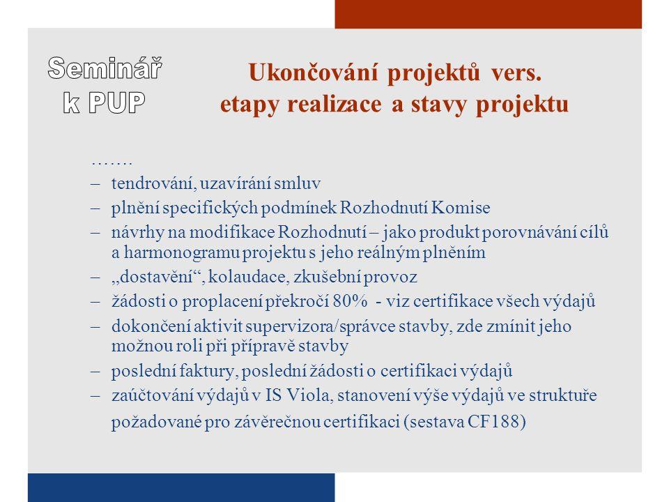 Ukončování projektů vers. etapy realizace a stavy projektu …….