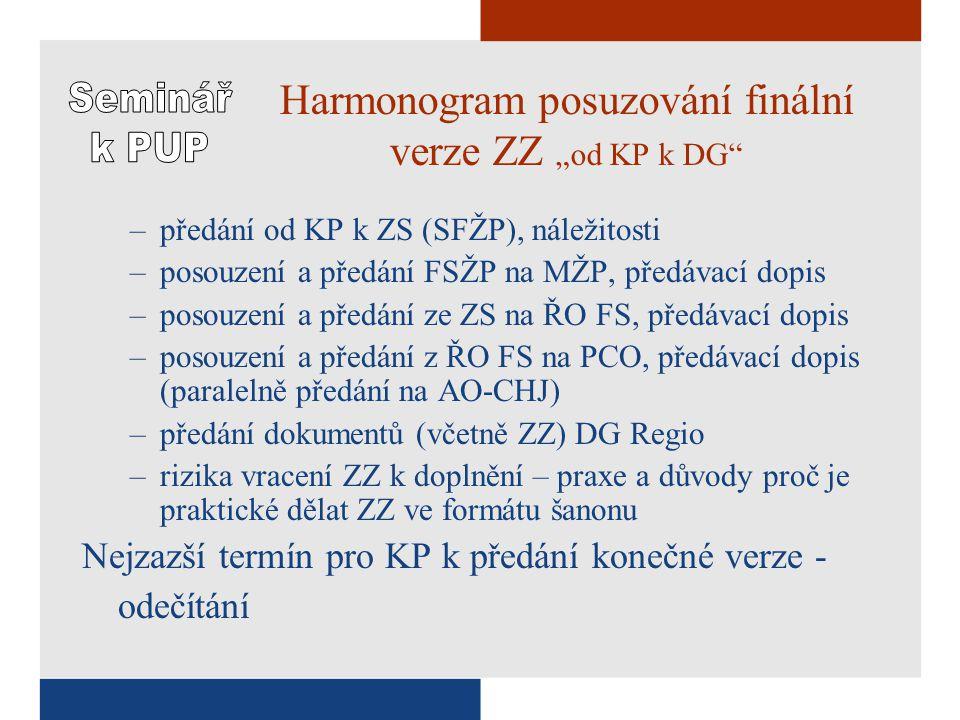 """Harmonogram posuzování finální verze ZZ """"od KP k DG –předání od KP k ZS (SFŽP), náležitosti –posouzení a předání FSŽP na MŽP, předávací dopis –posouzení a předání ze ZS na ŘO FS, předávací dopis –posouzení a předání z ŘO FS na PCO, předávací dopis (paralelně předání na AO-CHJ) –předání dokumentů (včetně ZZ) DG Regio –rizika vracení ZZ k doplnění – praxe a důvody proč je praktické dělat ZZ ve formátu šanonu Nejzazší termín pro KP k předání konečné verze - odečítání"""