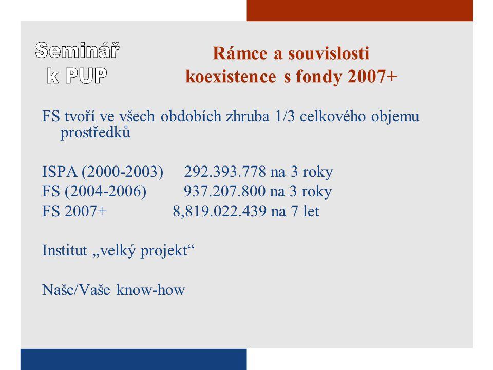 """Rámce a souvislosti koexistence s fondy 2007+ FS tvoří ve všech obdobích zhruba 1/3 celkového objemu prostředků ISPA (2000-2003) 292.393.778 na 3 roky FS (2004-2006) 937.207.800 na 3 roky FS 2007+ 8,819.022.439 na 7 let Institut """"velký projekt Naše/Vaše know-how"""