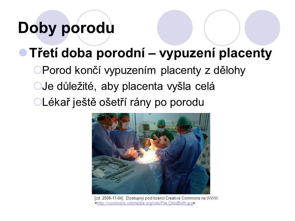 Doby porodu Třetí doba porodní – vypuzení placenty  Porod končí vypuzením placenty z dělohy  Je důležité, aby placenta vyšla celá  Lékař ještě ošetří rány po porodu [cit.