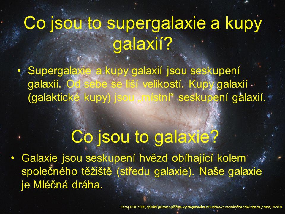 Co jsou to supergalaxie a kupy galaxií. Supergalaxie a kupy galaxií jsou seskupení galaxií.