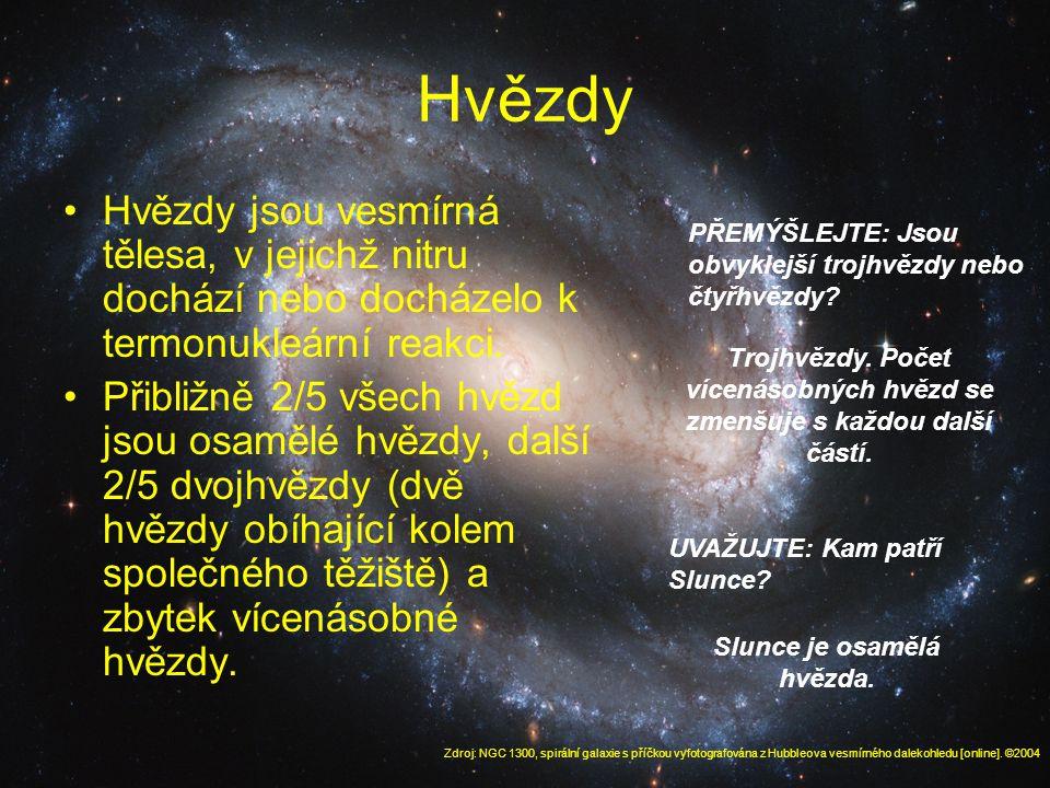 Hvězdy Hvězdy jsou vesmírná tělesa, v jejichž nitru dochází nebo docházelo k termonukleární reakci.