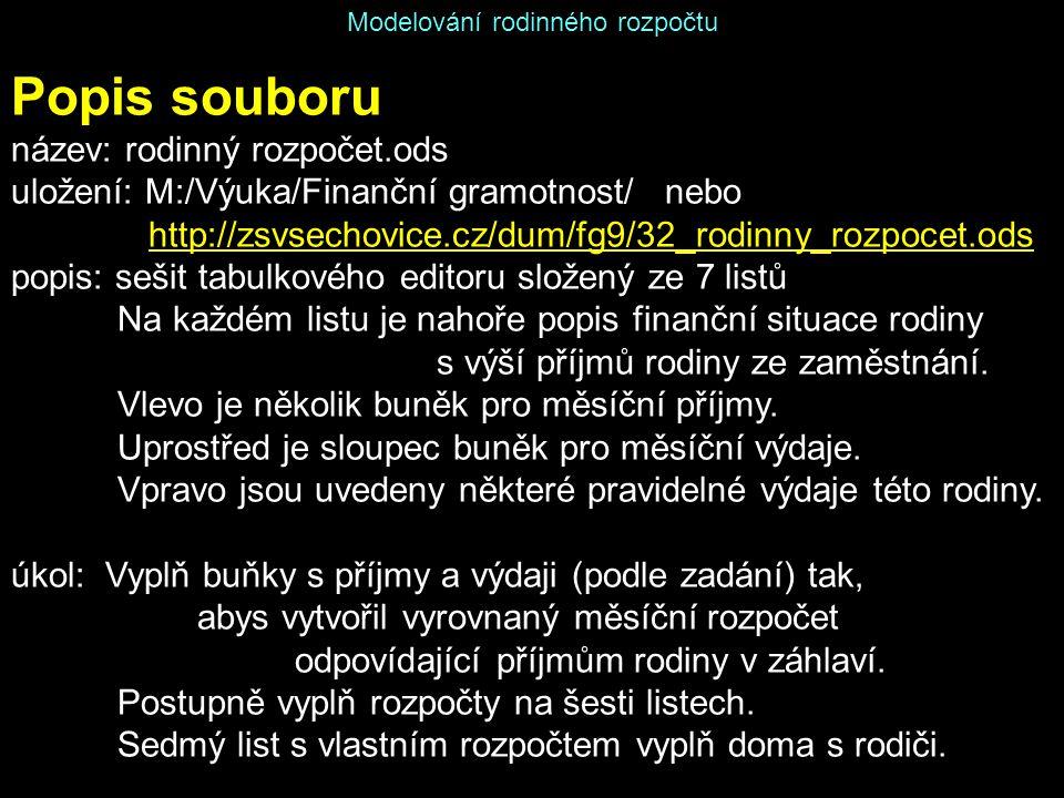 Modelování rodinného rozpočtu Popis souboru název: rodinný rozpočet.ods uložení: M:/Výuka/Finanční gramotnost/ nebo http://zsvsechovice.cz/dum/fg9/32_rodinny_rozpocet.odshttp://zsvsechovice.cz/dum/fg9/32_rodinny_rozpocet.ods popis: sešit tabulkového editoru složený ze 7 listů Na každém listu je nahoře popis finanční situace rodiny s výší příjmů rodiny ze zaměstnání.