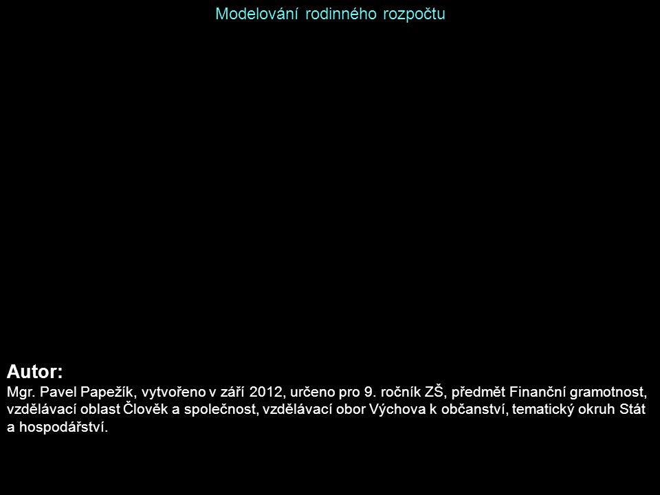 Modelování rodinného rozpočtu Autor: Mgr.Pavel Papežík, vytvořeno v září 2012, určeno pro 9.