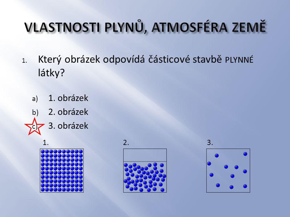 1. Který obrázek odpovídá částicové stavbě PLYNNÉ látky.