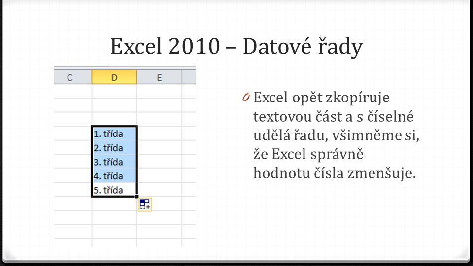 Excel 2010 – Datové řady 0 Excel opět zkopíruje textovou část a s číselné udělá řadu, všimněme si, že Excel správně hodnotu čísla zmenšuje.
