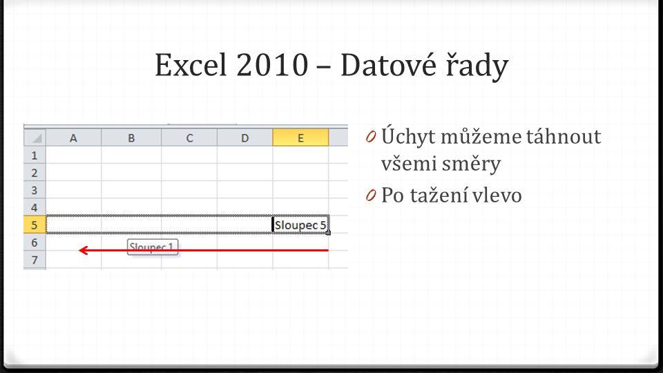 Excel 2010 – Datové řady 0 Úchyt můžeme táhnout všemi směry 0 Po tažení vlevo