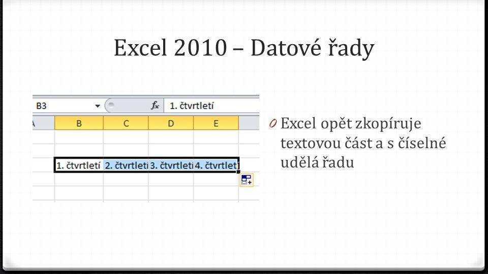 Excel 2010 – Datové řady 0 Úchyt můžeme táhnout všemi směry 0 Po tažení nahoru