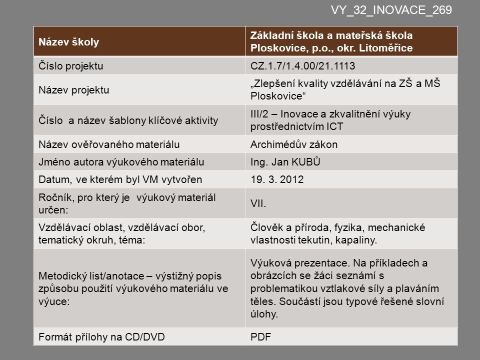Název školy Základní škola a mateřská škola Ploskovice, p.o., okr.