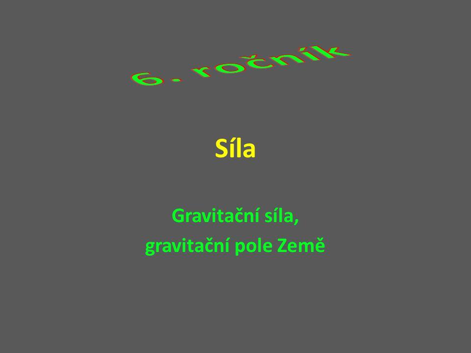 Síla Gravitační síla, gravitační pole Země