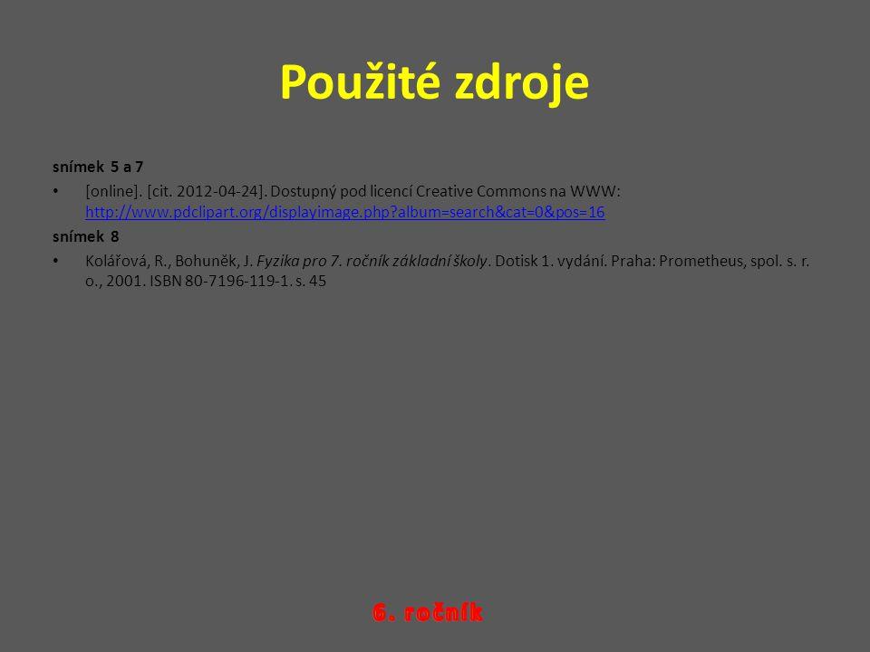 Použité zdroje snímek 5 a 7 [online]. [cit. 2012-04-24]. Dostupný pod licencí Creative Commons na WWW: http://www.pdclipart.org/displayimage.php?album