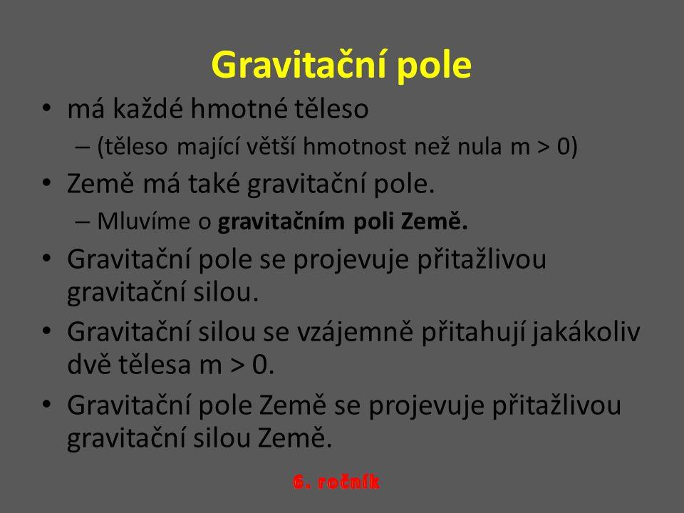Gravitační pole má každé hmotné těleso –(–(těleso mající větší hmotnost než nula m > 0) Země má také gravitační pole.