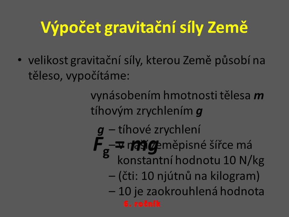 Výpočet gravitační síly Země velikost gravitační síly, kterou Země působí na těleso, vypočítáme: vynásobením hmotnosti tělesa m tíhovým zrychlením g F g = mg g – tíhové zrychlení – v naší zeměpisné šířce má konstantní hodnotu 10 N/kg – (čti: 10 njútnů na kilogram) – 10 je zaokrouhlená hodnota