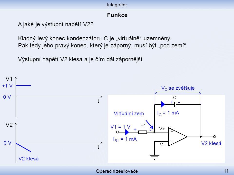"""A jaké je výstupní napětí V2? Kladný levý konec kondenzátoru C je """"virtuálně"""" uzemněný. Pak tedy jeho pravý konec, který je záporný, musí být """"pod zem"""