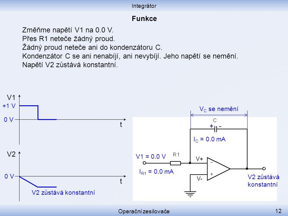 Změňme napětí V1 na 0.0 V. Přes R1 neteče žádný proud. Žádný proud neteče ani do kondenzátoru C. Kondenzátor C se ani nenabíjí, ani nevybíjí. Jeho nap